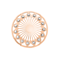 Polished cover rosegold-plated with silver beads