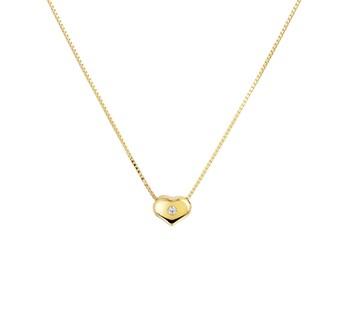 Gouden collier met hart zirkonia