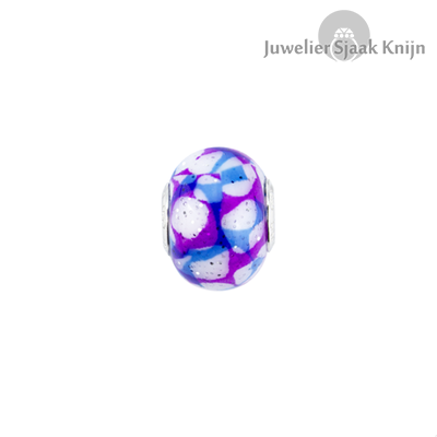 Bellini Glasbedel paars/blauw/wit glitter met zilveren kern