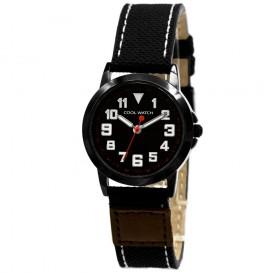 Cool Watch staal canvas bruin zwart