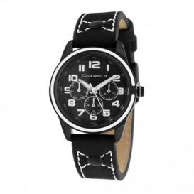 Cool Watch Staal-leer zwart