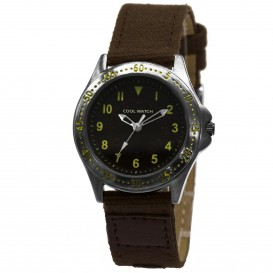 Cool Watch Staal-canvas bruin
