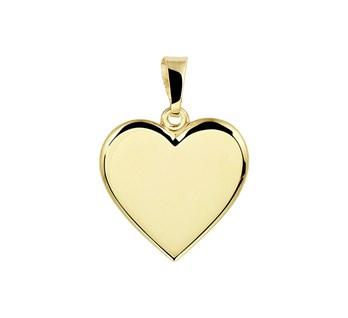 Geelgouden graveerhanger in de vorm van een hartje