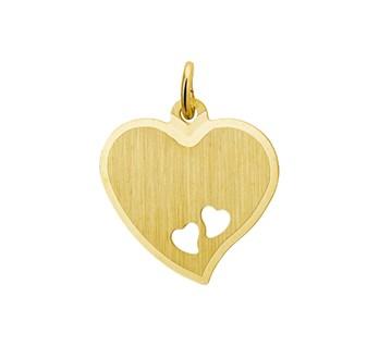 Geelgouden mat gediamanteerde hart met gestanste hartjes