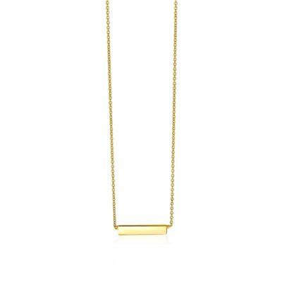 Zinzi Gold 14 karaat gouden collier plaatje glad