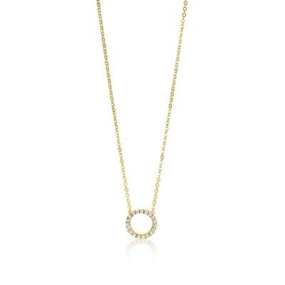Zinzi Gold 14 karaat gouden collier open rondje wit