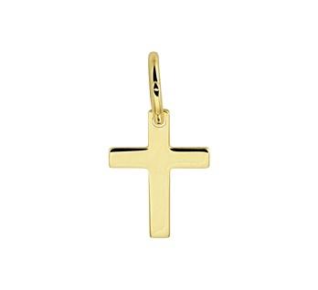 Geelgouden hanger kruis massief 10x7,5mm