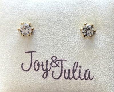 Gouden, wit zirkonia Joy & Julia