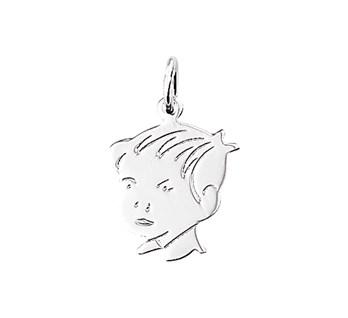 Zilveren hanger jongenshoofd