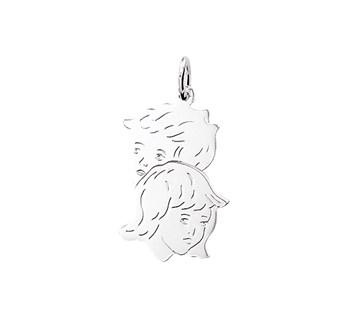 Zilveren hanger jongen- en meisjeshoofd