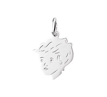 zilveren hanger kinderhoofdje jongen 17,5x14mm