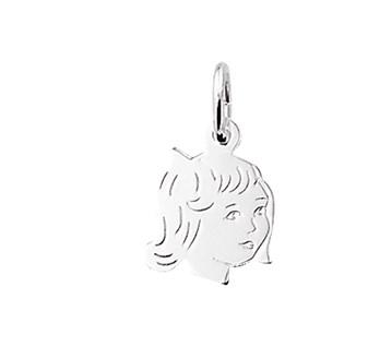 zilveren hanger kinderhoofdje meisje