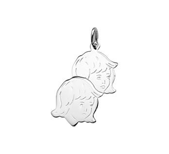 Zilveren hanger kinderhoofdjes