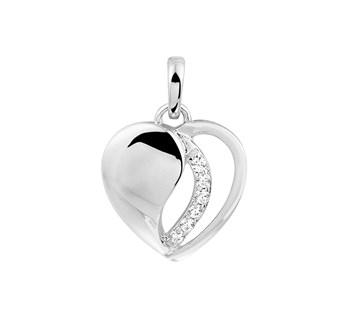 Zilveren hart hanger met een rij zirkonia's