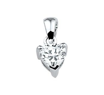 Zilveren hart hanger met een zirkonia