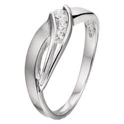 Ring glanzend-mat met zirkonia