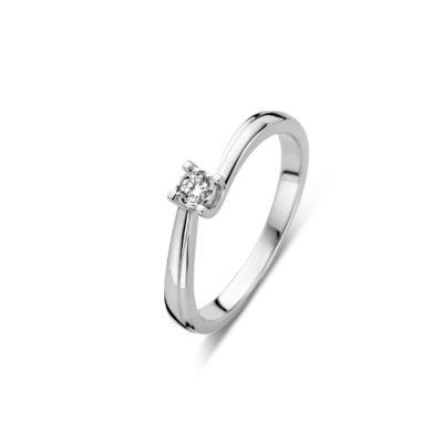 Forever Yours zilveren ring met grotere diamant
