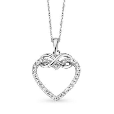 Rosa di Luca zilveren collier met hart hanger zirkonia