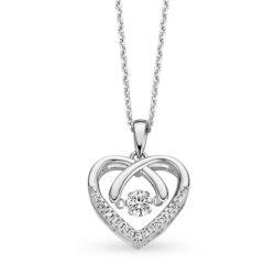 Rosa di Luca zilveren collier met hanger hart zirkonia