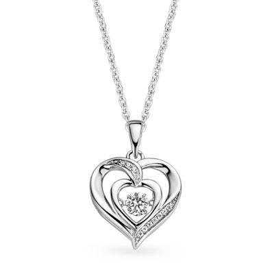 Rosa di Luca zilveren collier met harthanger zirkonia