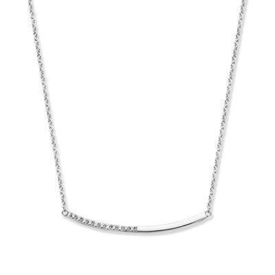 Rosa di Luca zilveren collier met vaste hanger zirkonia