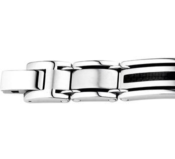 Stalen heren armband met carbon