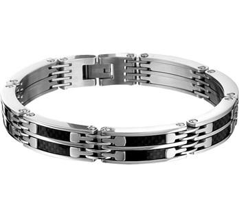 Stalen heren armband met carbon en poli afwerking