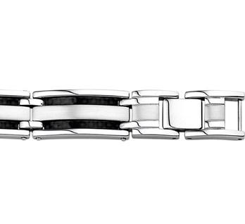 Stalen heren armband poli mat met carbon