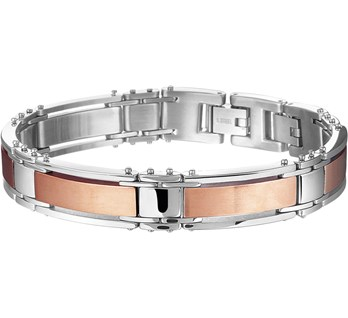 Stalen heren armband rose plated
