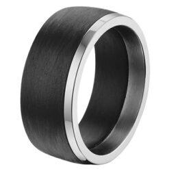 Stalen heren ring met carbon