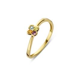 Geelgouden ring 4 kleuren zirkonia Joy & Julia