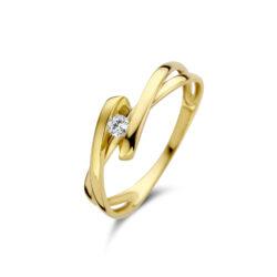 Geelgouden ring, witte zirkonia, Joy en julia