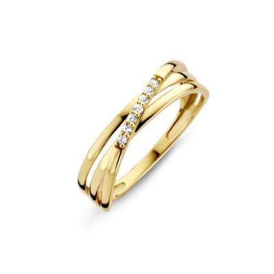 Geelgouden ring witte zirkonia Joy & Julia