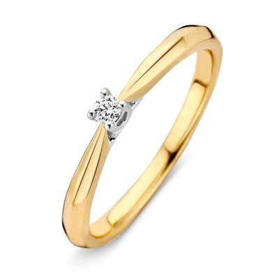 Bicolor gouden ring 0.06crt