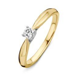 Bicolor gouden ring 0.15crt