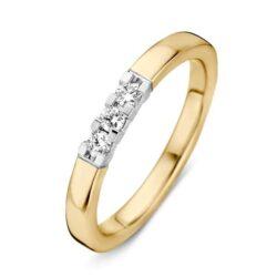 Bicolor gouden ring 3x 0.05crt