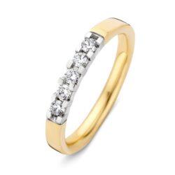 Bicolor gouden ring 5x 0.05crt
