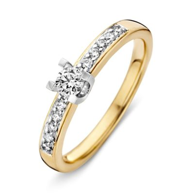 Bicolor gouden ring totaal 0.34crt