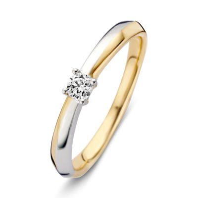 Bicolor gouden ring 0.12crt