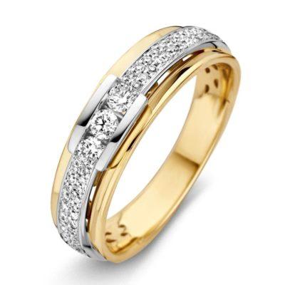 Bicolor gouden ring 0.34crt