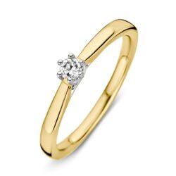 Bicolor gouden ring 0.09crt