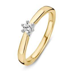Bicolor gouden ring 0.14crt