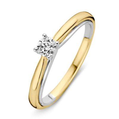 Bicolor gouden ring 0.25crt
