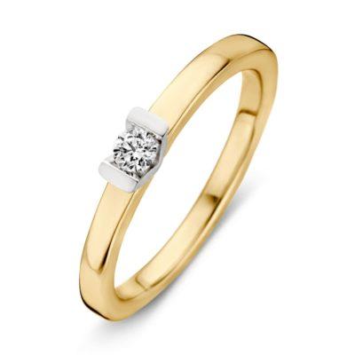 Bicolor gouden ring 0.10crt