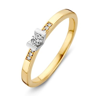 Bicolor gouden ring 0.08crt - 0.02crt