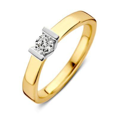 Bicolor gouden ring 0.20crt