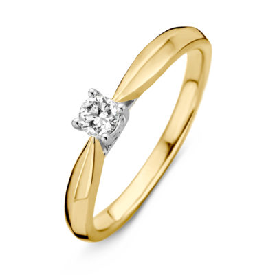 Bicolor gouden ring 0.19crt