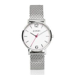ZINZI Lady horloge witte wijzerplaat stalen kast stalen mesh band 28mm extra dun