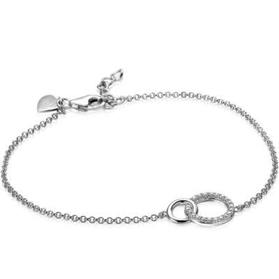 Zinzi zilveren armband 2 open rondjes verbonden wit