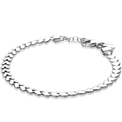 ZINZI zilveren armband hartjes 4,5mm breed